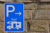 Parking sign for motorhomes