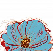 foto of poppy flower  - Abstract white vector background with blue poppies - JPG