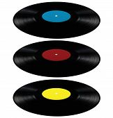 Black Vinyl Lp Album Disc, Isolated Long Play Disk With Blank Label In Cyan Blue, Red, Yellow