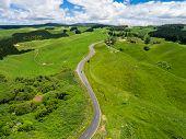 Road Trip On Rolling Hill In Rotorua, New Zealand. poster