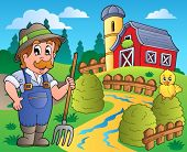 Country scene with red barn 3 - vector illustration.