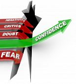 A green arrow marked Confidence rises above a chasm of failure, while red arrows marked with negativ