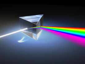 stock photo of prism  - Optical prism refracting a ray of white light - JPG