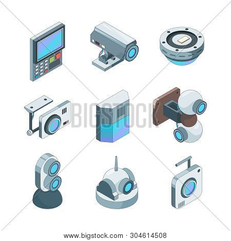 poster of Secure Cam Isometric. Cctv Home Security Cameras Electronic Systems Vector 3d Illustrations. Technol
