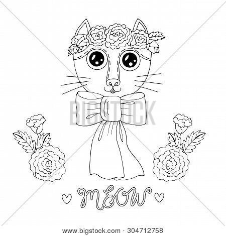 poster of Cartoon Cat For Coloring Book Or Pages