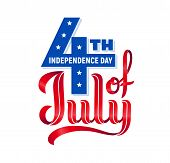 4th Of July. Usa Independence Day. Red And Blue Vector Lettering Isolated On White Background poster