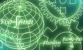 Abstract Futuristic Stripe Line Printed Circuit Board Pattern With Gear Wheel And Math Fornula On Bl poster