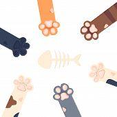 Cat Paws Wallpaper, Legs, Dog Paw, Cat Background, Kitten Flat Design, Prints, Cartoon, Cute Cat Foo poster