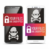 Cracking Smartphone With Pirate Malware Set Vector. Padlock And Text On Banner And Skull Of Death On poster