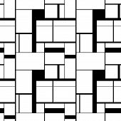 Black And White Painting In Piet Mondrians Style, Seamless Pattern poster