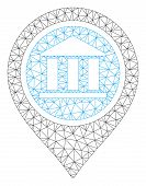 Mesh Bank Map Pointer Model Icon. Wire Frame Triangular Mesh Of Vector Bank Map Pointer Isolated On  poster