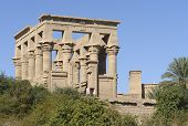 Sunny Illuminated Temple Of Philae In Egypt