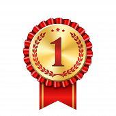 Award Ribbon Gold Icon Number First. Design Winner Golden Red Medal 1 Prize. Symbol Best Trophy, 1st poster