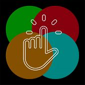Pointer Finger Icon - Vector Hand Cursor Illustration - Mouse Pointer Symbol Isolated. Thin Line Pic poster