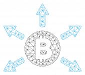 Mesh Bitcoin Emission Model Icon. Wire Carcass Triangular Mesh Of Vector Bitcoin Emission Isolated O poster
