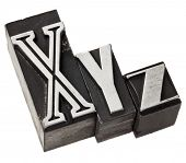 xyz - three last letters of alphabet (or Cartesian coordinates system) in vintage letterpress metal