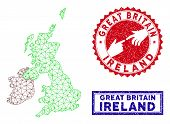 Network Polygonal Great Britain And Ireland Map And Grunge Seal Stamps. Abstract Lines And Points Fo poster