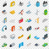 Flash Drive Icons Set. Isometric Style Of 36 Flash Drive Vector Icons For Web For Any Design poster