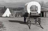 image of wigwams  - Wagon and wigwam - JPG