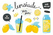 Hand Drawn Lemonade. Lemon Juice Bubble Drink With Labels And Typography, Summer Cold Cocktail. Vect poster