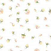 Fuzzy Aquarelle Flower Seamless Wallpaper, Floral Background. Blured  Watercolor Botanical Illustrat poster