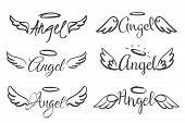 Angels Wings Emblems. Feather Angel Wing And Halo, Sketch Feathers Bird Line Tattoo. Hand Drawn Fant poster