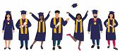 Young Girls Graduate In Graduation Gown And Hats With Tassels. Trendy Flat Women poster