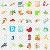 Skyscraper Icons Set. Cartoon Style Of 36 Skyscraper Vector Icons For Web For Any Design poster