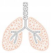 Mesh Breathe System Polygonal Icon Vector Illustration. Carcass Model Is Based On Breathe System Fla poster