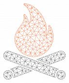 Mesh Campfire Polygonal Icon Vector Illustration. Model Is Based On Campfire Flat Icon. Triangle Mes poster