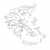 Vector Isolated Illustration Of Simplified Administrative Map Of Greece. Borders And Names Of The Re poster
