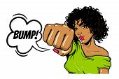Black Young Curly Hair Woman Pop Art Style Wow Face Show Bump Kick. Isolated White Background. Comic poster