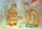 Apsara Celestial Nymphs - Ancient Painting On The Walls In The Lion Rock Cave, 5Th Century,  Sigiriy