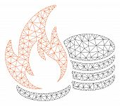 Mesh Coins Fire Disaster Polygonal Icon Vector Illustration. Model Is Based On Coins Fire Disaster F poster