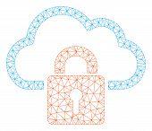 Mesh Cloud Locked Polygonal Symbol Vector Illustration. Carcass Model Is Based On Cloud Locked Flat  poster