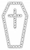 Mesh Christian Coffin Polygonal Icon Vector Illustration. Model Is Based On Christian Coffin Flat Ic poster