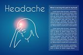 Headache Linear Medical Poster With Text. Vector Abstract Minimal Illustration Of Young Woman With P poster