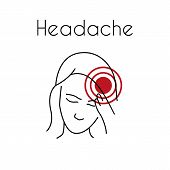 Headache Linear Icon. Vector Abstract Minimal Illustration Of Young Asian Woman With Red Spot On Her poster