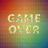 Game Over Colorful Sign On Square Polygonal Background. Gaming Concept. Video Game Screen. poster
