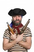 stock photo of musket  - Terrible bearded pirate in tricorn hat with a muskets - JPG