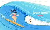 Surfing Competition, Women Characters In Swimwear Riding Surf Boards By Huge Ocean Waves. Sportswome poster