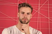 Use Right Product Styling Hair. Confident With Tidy Hairstyle. Barber Hairstyle Tips. Man Bearded Gu poster