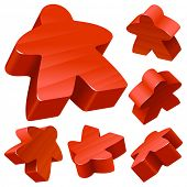Red wooden Meeple vector set isolated on white. Symbol of family board games