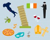 Italy Famous Rome Landmark. Italy Symbols Set. Italy. Venice, Rome, Pisa . Set Of Elements For Desig poster