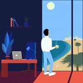 Working Man Dreams About Vacation Watching The Sea-scape. Flat Vector Illustration poster