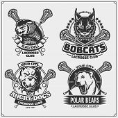 Set Of Lacrosse Badges, Labels And Design Elements. Sport Club Emblems With Polar Bear, Bobcat, Pitb poster