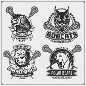 Set Of Lacrosse Badges, Labels And Design Elements. Sport Club Emblems With Polar Bear, Bobcat, Pitb poster