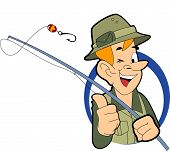 picture of fishing rod  - fisherman with hat holding fishing rod  - JPG