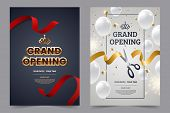 Grand Opening Invitation Flyer With Red And Gold Cut Ribbons And Scissors. Golden Text On Luxury Bac poster
