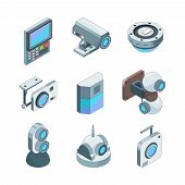 Secure Cam Isometric. Cctv Home Security Cameras Electronic Systems Vector 3d Illustrations. Technol poster